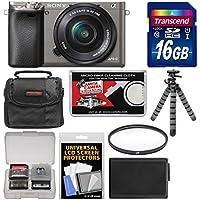 Sony Alpha A6000 Wi-Fi Digital Camera & 16-50mm Lens (Graphite) with 16GB Card + Case + Battery + Flex Tripod + Filter Kit