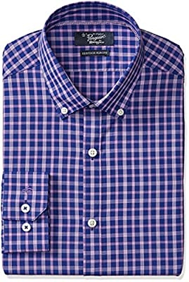 Original Penguin Men's Slim Fit Contrast Plaid Dress Shirt, Navy/Purple Plaid