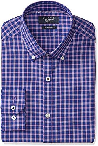 Original Penguin Men's Slim Fit Contrast Plaid Dress Shirt, Navy/Purple Plaid, 16