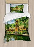 Ambesonne Balinese Duvet Cover Set Twin Size, Tirta Empul Temple Bali Indonesia Exotic Trees Oriental Building Fish Lake Photo, Decorative 2 Piece Bedding Set with 1 Pillow Sham, Green Yellow