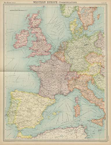 Map Of Europe 1922.Amazon Com Western Europe Communications Railways Shipping