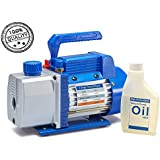 """NewPosition 3.0 CFM Single-Stage 5 Pa Rotary Vane Economy Vacuum Pump for HVAC, Air Conditioner Refrigerant,Food Packaging,Milking, 1/4"""" Flare Inlet Port, Blue"""