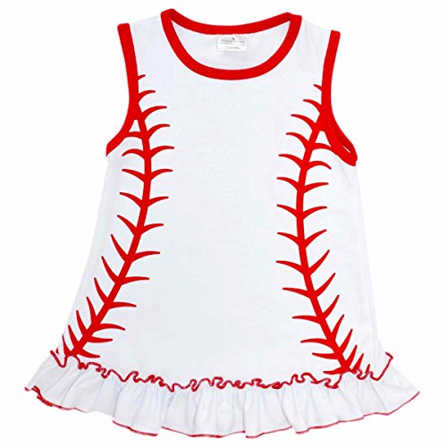 Unique Baby Girls Baseball Shirt Dress (4T/M, White)