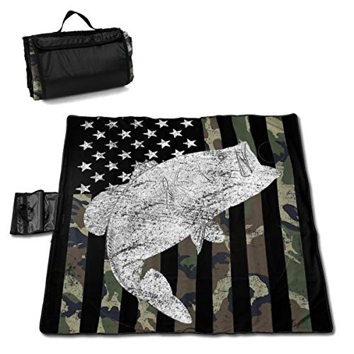 (Beach Surfers Green Camo Camouflage Flag Bass Fishing Angler Extra Large Picnic Blanket Waterproof Picnic Mat Folding Portable Tote for Family Camping Concert Indoor and Outdoor 57