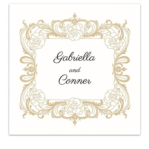 (Rose Floral Frame Crest Personalized Beverage Cocktail Ooh La Color Napkins - 100 Custom Printed Paper Napkins)