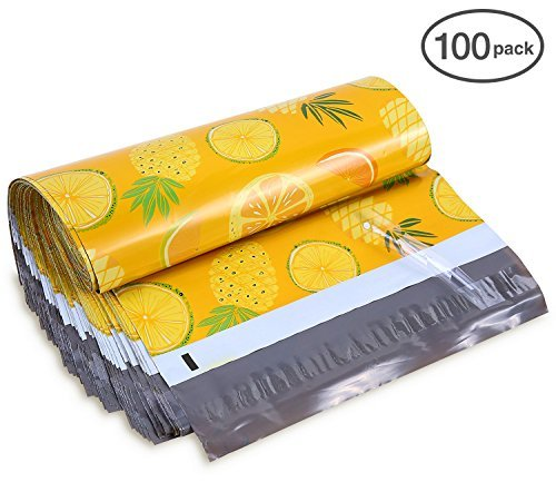 Shipping Poly Bags, Ohuhu 10x13 100-Pack Pineapple & Orange Designer Poly Mailers, Self Sealed Shipping Envelopes for Gifts, Boutique Custom Bag Packages with Self Adhesive Strip, Water Resistant by Ohuhu
