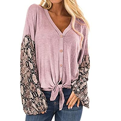 Women's Round Neck Long Lantern Sleeve Top Splicing Knotted Snake Blouse