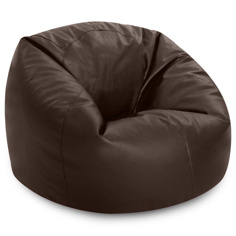 Bean Bag Bazaar Luxury Faux Leather Panelled XL Bean Bag Chair - Extra Large Bean Bags (Black)
