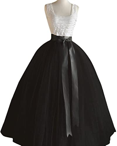Dressyonly Women's Long Sheer Mesh Tulle Overlay Tutu Skirt