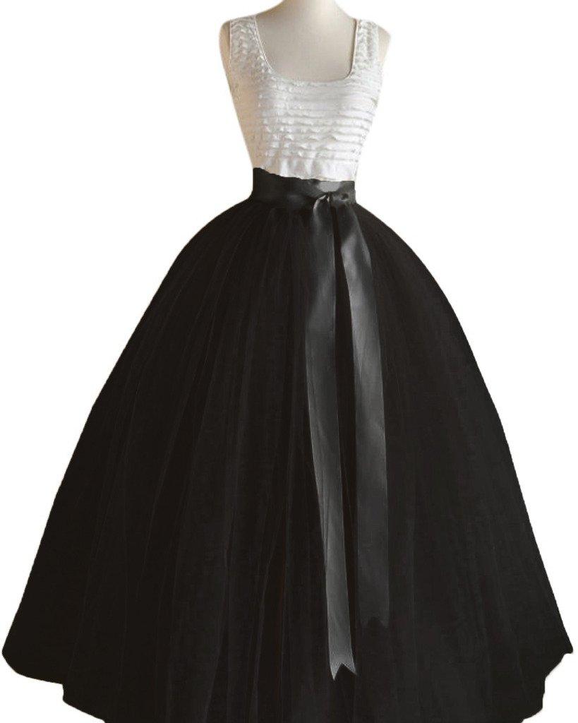 Dressyonly Women's Long Sheer Mesh Tulle Overlay Tutu Skirt Size 18W US Black