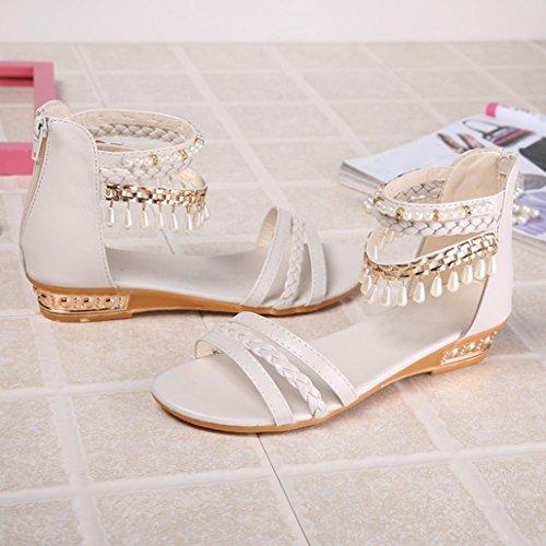 Sommer elegante Plattform Schuh Frauen Perlen Keil Sandelholze beiläufige Schuhe (37, Weiß) Hunpta