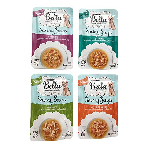 Purina Bella Savory Soups Small Dog Wet Food Meal Complement 4-1.4 oz Pouches