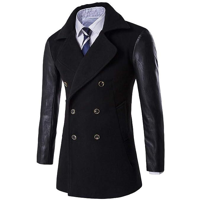 ZODOF Chaqueta Slim para Hombre Chaqueta de los Hombres cálido Invierno Trinchera Largo Outwear botón Elegante