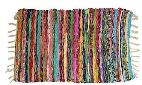 Homevibes Alfombra Multicolor Chindi con Pelo Largo, Estilo Hindu, Alfombra 100% Algodon, Tejida A Mano, Medidas 50x80 / 60x90 cm, Alfombra de Comedor, Alfombra Multicolor con Flecos (50x80cm): Amazon.es: Hogar