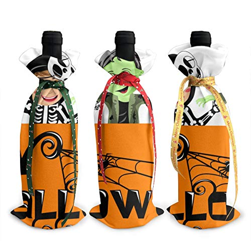 NBteach Happy Halloween Banner with Kids in Costume 3pcs Christmas Xmas Red Wine Glass Bottle Wraps Cover Bag Decorations Ornaments Theme Tasting Charms Accessories Gifts -