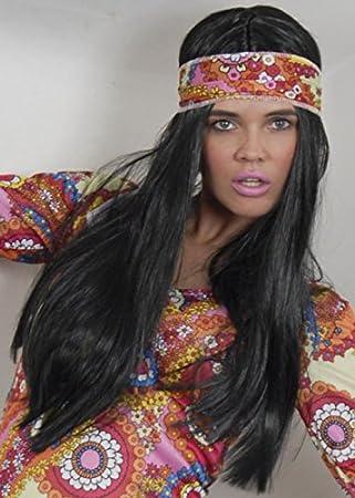 años 70 hippie chica larga recta negro peluca