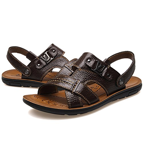 Pelle Scarpe Slide Brown1 Sandali Beach Estivo Slip Per In Taglie Slippers Tempo Fashion Forti Vera Holiday Il On MERRYHE Libero Cuoio Open Uomo Toe 8gT8d