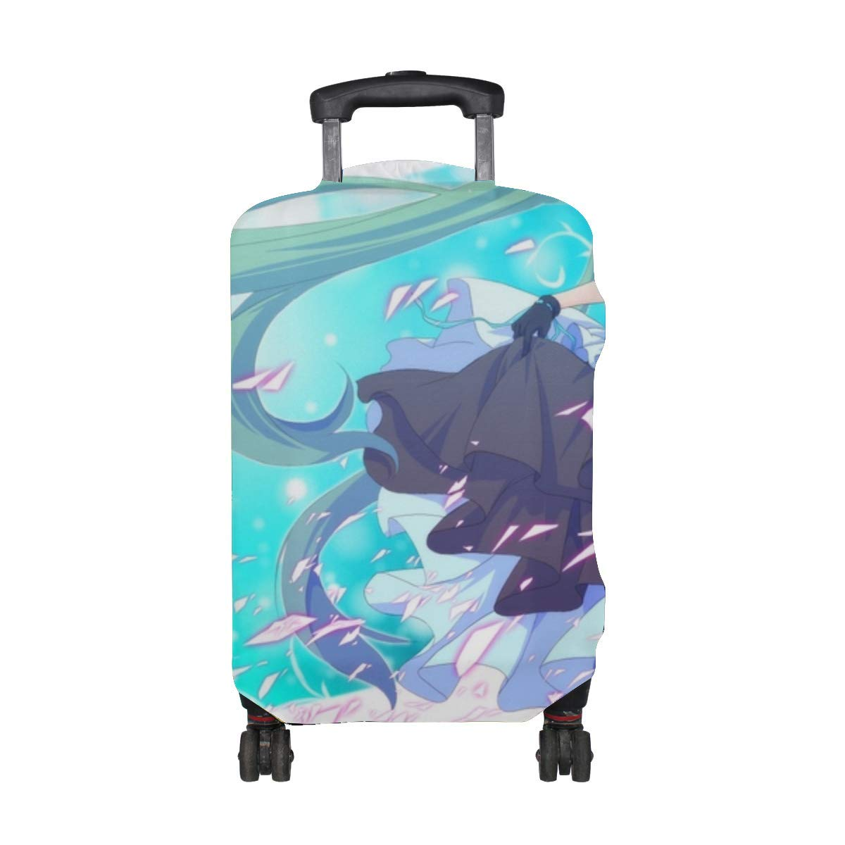 Maxm Vocaloid Hatsune Miku Kiko Girl Wind Dress Stockings Pattern Print Travel Luggage Protector Baggage Suitcase Cover Fits 18-21 Inch Luggage