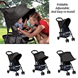Black Sun Shade for Baby Carriages & Strollers & Pushchair, Summer Infant Rayshade Stroller Cover with Great UV Protection Performance