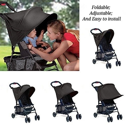 Black Sun Shade for Baby Carriages & Strollers & Pushchair, Summer Infant Rayshade Stroller Cover with Great UV Protection Performance by BABEE
