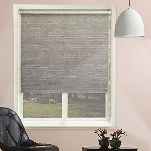 Chicology Continuous Loop Beaded Chain Roller Shades / Window Blind Curtain Drape, Natural Woven, Privacy - Candyfloss Coal, 48