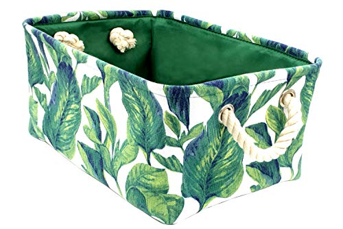 Leaf Rectangular - Rectangular Fabric Storage Bin 13.7Lx9.8Wx6.3H Inches Gift Basket Toy Box for Organizing Home,Nursery,Baby Laundry,Office,Closet and Shelf (Plant)
