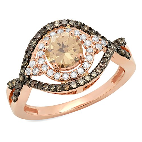 Dazzlingrock Collection 1.25 Carat (ctw) 14K Champagne & White Diamond Ladies Ring 1 1/4 CT, Rose Gold, Size 10