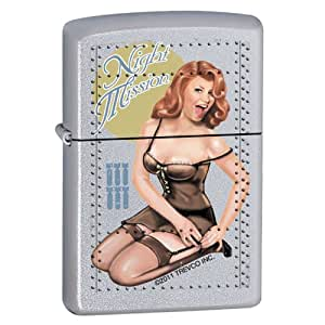 "Zippo ""Night Mission-Pin Up Girl"" Satin Chrome Lighter, 7286"