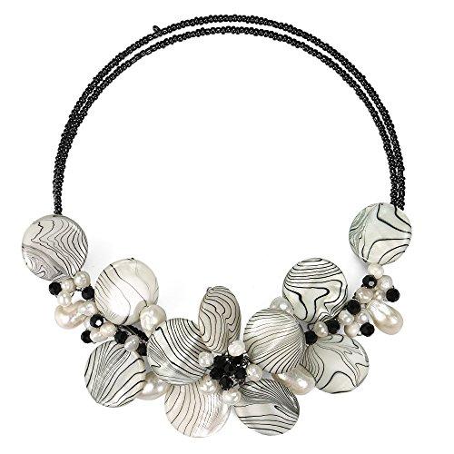 AeraVida Charming Zebra Pattern Mother of Pearl Choker Necklace