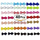 Angla 40PCS Pigtail Bow Hair Clips Fully Lined Grosgrain Ribbon for Baby Girl Toddler Kids (40PCS S2)