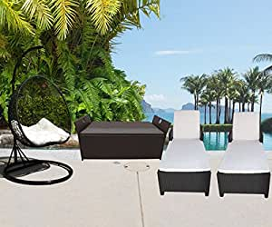 4 PC Outdoor Garden Patio Set Wicker Furniture #3 Hanging Rattan 2 Person Egg Shape Swing Chair Sunbed Sun Bed Lounge Chair Storage Box Chest Deck Poolside Storage Box