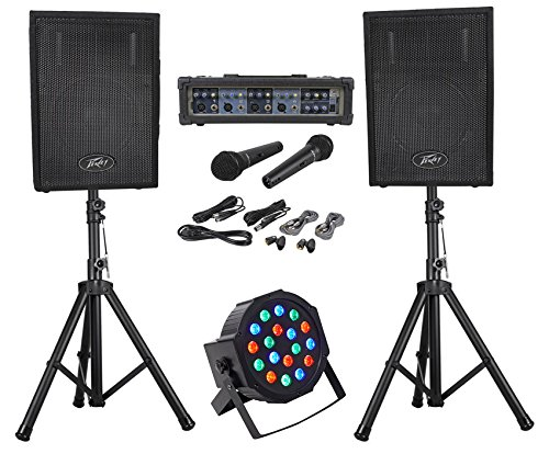 Peavey Audio Performer Pack PA System w/Mixer, Speakers, Mics, Stands+Par Light -