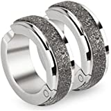 Pair of CLIP-ON Huggie Hoop Earrings with Brushed Middle Strip (no piercing required) Stainless Steel