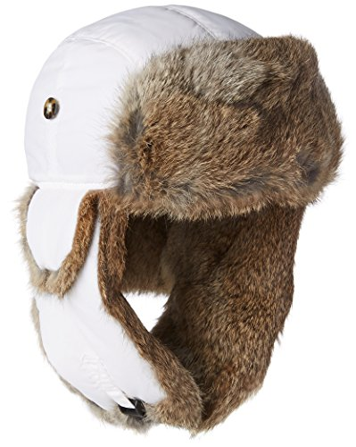 (Mad Bomber Original White Aviator Pilot Hat Real Rabbit Fur Trapper Hunting Cap, X-Large)