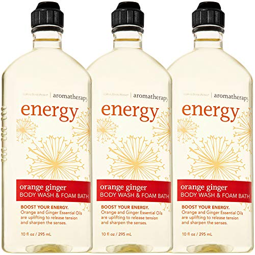 Aromatherapy Ginger Body Wash - Bath & Body Works Aromatherapy Energy - Orange + Ginger Body Wash & Foam Bath, 10 Fl Oz, 3-Pack