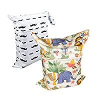 Alva Baby 2pcs Travel Wet and Dry Waterproof Cloth Diaper Bags Reusable with ...