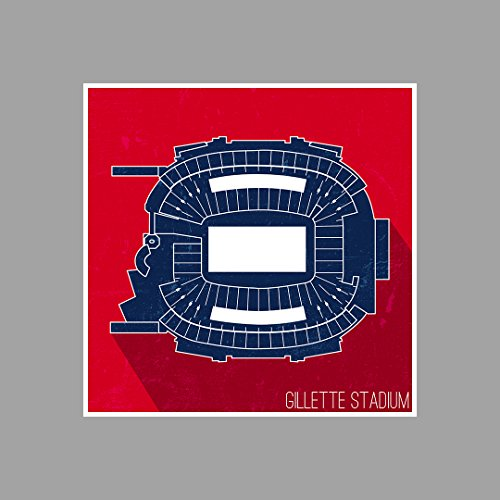 ArtsyCanvas Gillette Stadium - Football Seating Map - 12x12 Matte Poster Print Wall Art