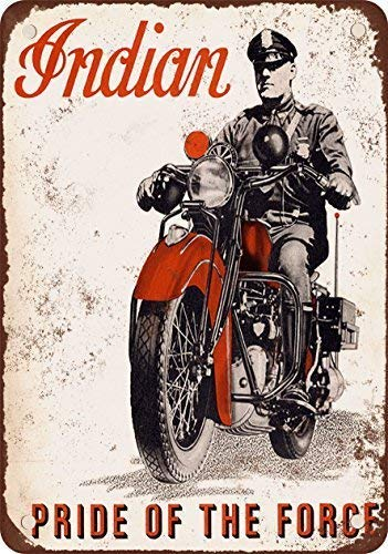 Joeaney Tin Sign New Metal Sign 1940 Indian Motorcycles for Police Vintage Look Reproduction Sign for House, Home or Business 7.8 x 11.8 inches