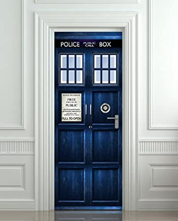 Wall Door STICKER Who Police box movie sticker, mural, decole, film doctor who