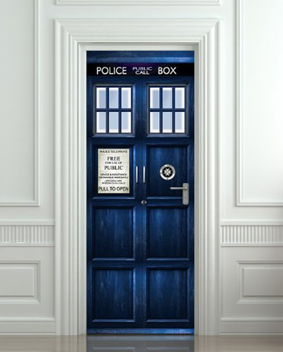 Wall Door STICKER Who Police box movie sticker, mural, decole, film 30x79