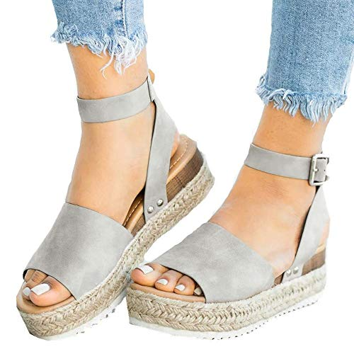 - Athlefit Women's Platform Sandals Espadrille Wedge Ankle Strap Studded Open Toe Sandals Size 6.5 Grey