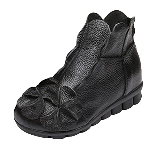 Vogstyle Women New Casual Flower Handmade Leather Ankle Boots Style 1-Black Fleece Flower lenYJi6Aev