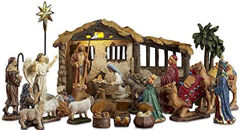 23 Pieces, 5-Inch The Real Life Nativity – Includes Lighted Stable, Palm Tree and Chests of Gold, Frankincense and Myrrh