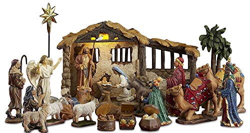 23 Pieces, 5-Inch The Real Life Nativity - Includes Lighted Stable, Palm Tree and Chests of Gold, Frankincense and Myrrh (Large Lighted Nativity)