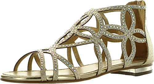 Forever Tory-63 Womens Cut Out Back Zip Flat Sandals,Gold,9