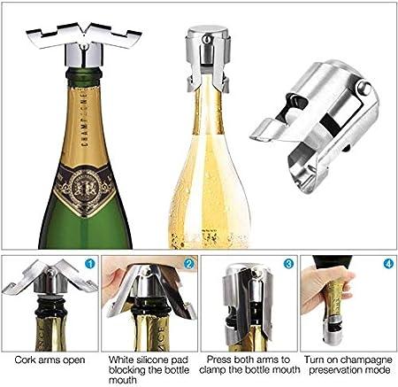 Acero Inoxidable Tapón De Champán 3 Piezas Tapón De La Botella Champagne Champán Tapón De Acero Inoxidable Tapón De La Botella De Champán Tapón De Acero Inoxidable Champán Para Champán Champán Tapones
