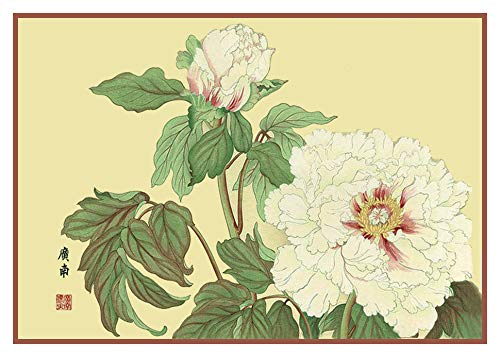 - Orenco Originals Tanigami Konan Asian White Peony Flowers Counted Cross Stitch Pattern