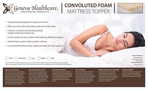 Geneva Healthcare Egg Crate Convoluted Foam Mattress Pad 4'' Standard King Size Topper - 4'' x 76'' x 80'' - 1.5 Density by Geneva Healthcare (Image #1)