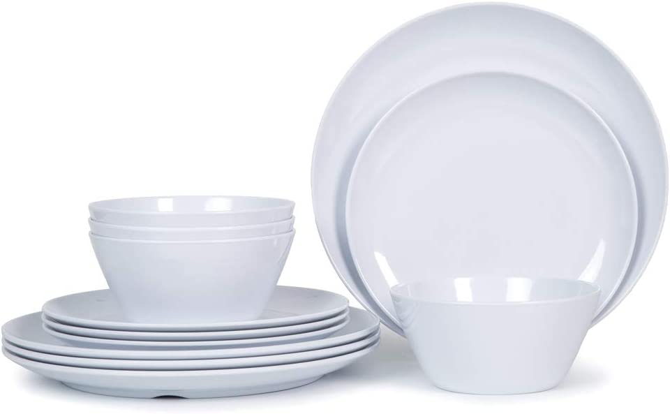Melamine Dishes Dinnerware Set - 12pcs Plates and Bowls Set for 4, Indoor and Outdoor Use, Dishwasher Safe, White