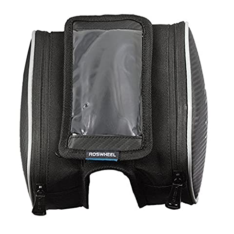Nasus Bicycle Front Top Tube Bag Cycling Frame Pannier Water Resistant Double Pouch Bike Saddle Bag Rack with Mobile Phone Screen Touch - Front Pannier